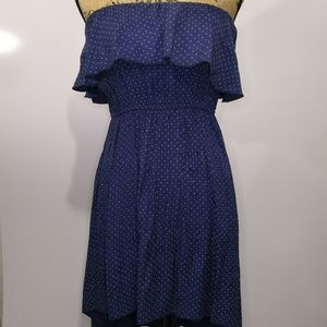 Freshine Navy/Pink Polka dot Strapless Dress